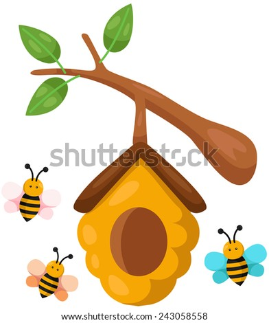 illustration of isolated beehive branch on white background - stock photo