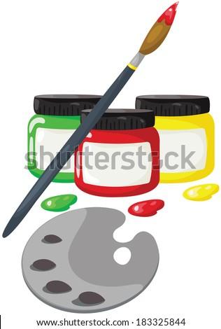 illustration of isolated bottles of paint with paintbrush  - stock photo
