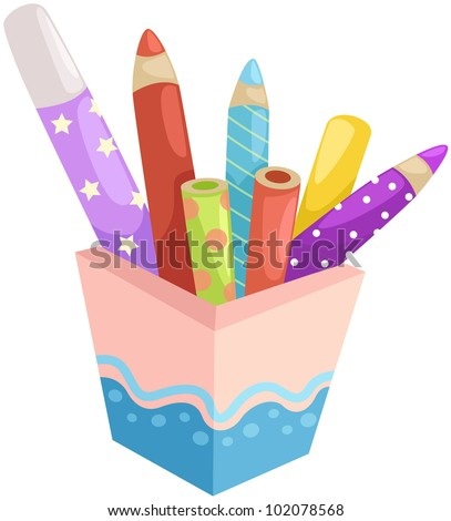 illustration of isolated box of crayons on white - stock photo