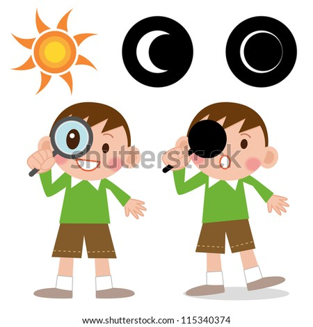 illustration of isolated boy looking through a magnifying glass - stock photo