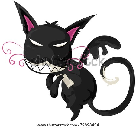 illustration of isolated cartoon monster cat on white - stock photo
