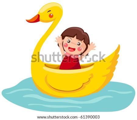 illustration of isolated cartoon swan boat on white - stock photo