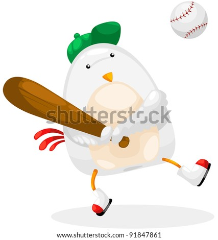 illustration of isolated chicken player baseball on white - stock photo