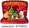 illustration of isolated christmas music box on white - stock photo