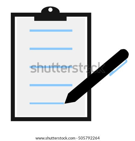 Illustration of isolated clipboard with pencil