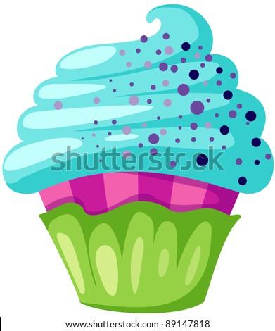 illustration of isolated cupcake  on white background - stock photo