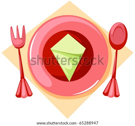 illustration of isolated empty plate with fork and spoon - stock photo
