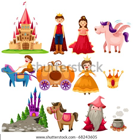 illustration of isolated fairytale set on white background - stock photo