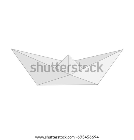 Illustration of Isolated figure of boat, ship folded from white paper in origami style on white background