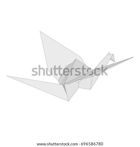 Illustration of Isolated figure of japanese crane folded from white paper in origami style on white background
