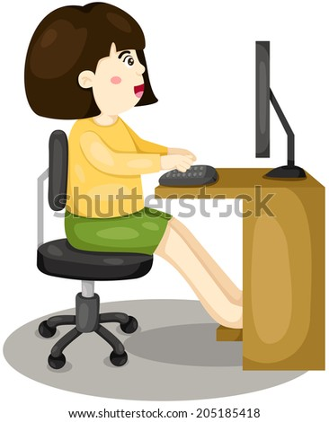 illustration of isolated girl using computer on white