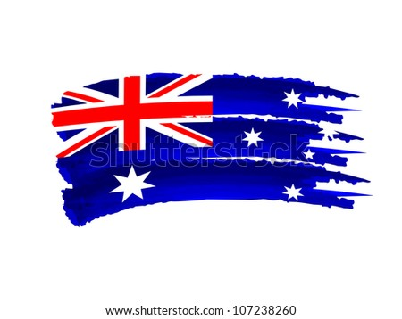 Illustration of Isolated hand drawn Australian flag - stock photo