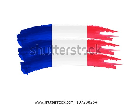 Illustration of Isolated hand drawn French flag - stock photo