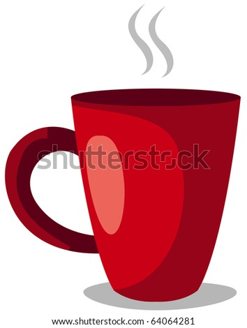 illustration of isolated hot of coffee cup on white background - stock photo