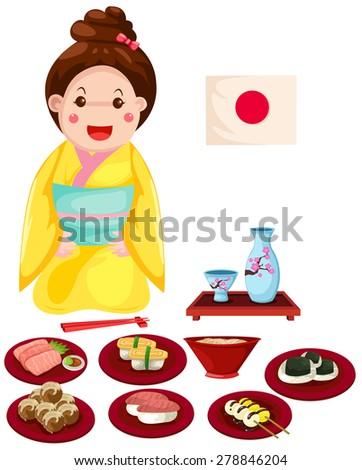 illustration of isolated japanese girl with set of japanese food on white - stock photo