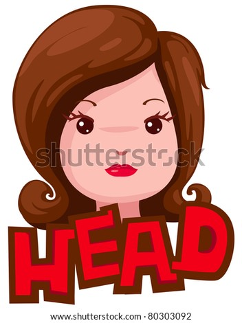 illustration of isolated letter of head on white background - stock photo