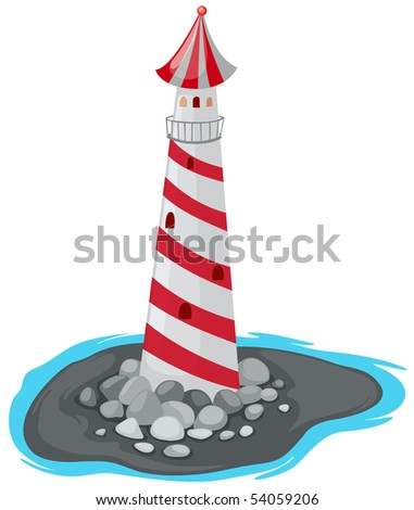 illustration of isolated lighthouse on white background - stock photo