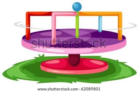 illustration of isolated merry-go-round on white background - stock photo