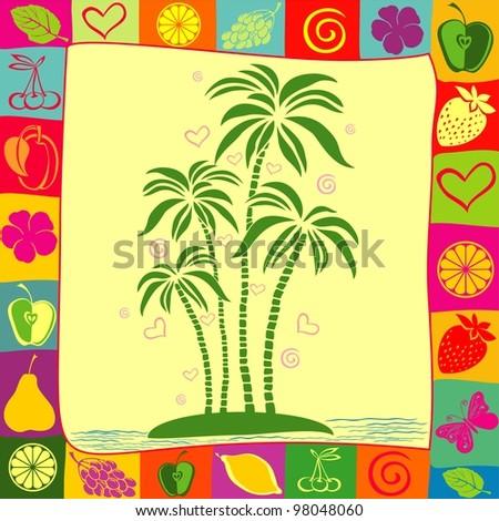 illustration of isolated palm tree on desert island - stock photo