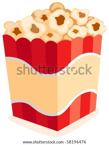 illustration of isolated pop corn on white background - stock photo
