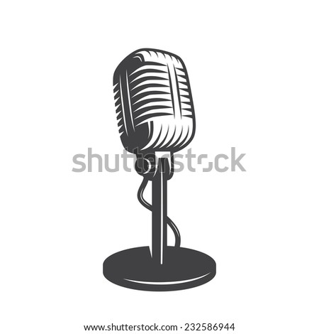 Illustration of isolated retro, vintage microphone.