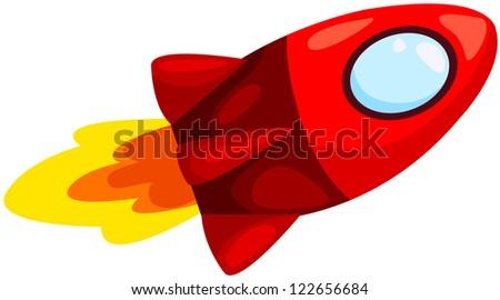 illustration of isolated rocket ship on white background - stock photo