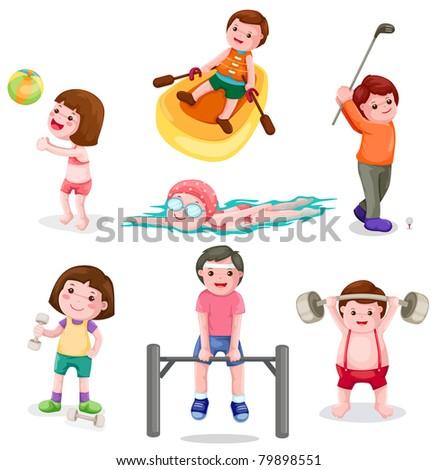 illustration of isolated set of activity boys and girls exercise - stock photo