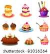illustration of isolated set of cupcake on white - stock photo