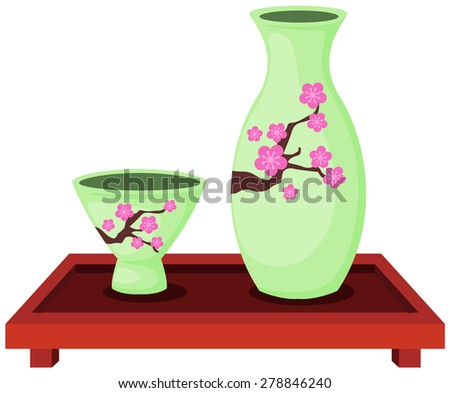 illustration of isolated set of sake bottle with small cup  - stock photo