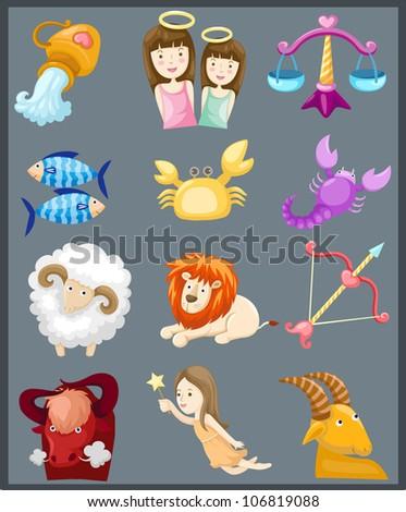illustration of isolated set of sign zodiacs - stock photo