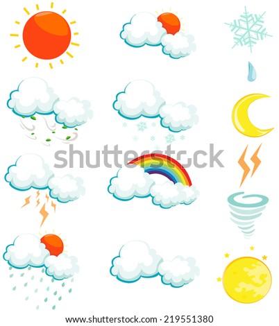 illustration of isolated set of weather icons on white  - stock photo