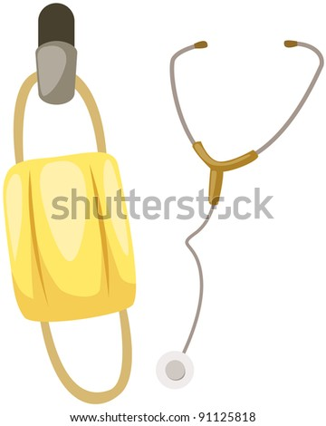 illustration of isolated stethoscope with mask on white - stock photo
