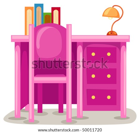 illustration of isolated study table with chair on white - stock photo