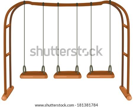 illustration of isolated swing on white background - stock photo