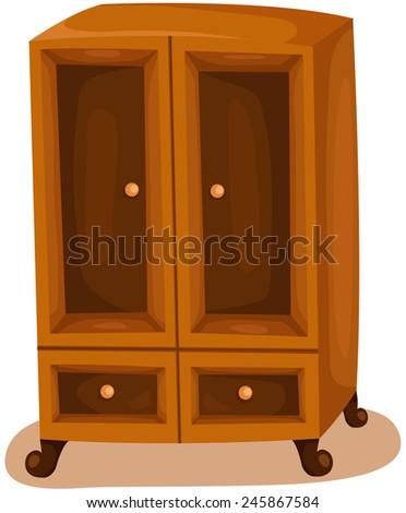 illustration of isolated wardrobe on white  - stock photo