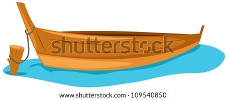 Illustration Wooden Boat Stock Vector 102833492 - Shutterstock