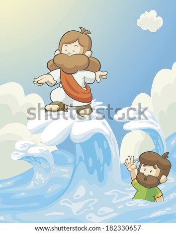 Illustration of Jesus surfing with Peter