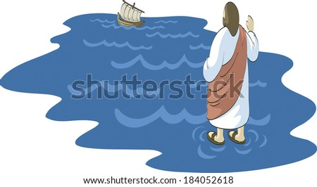 Illustration of Jesus walking on water - stock photo