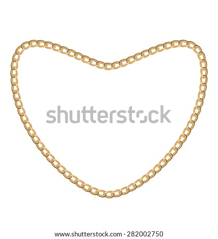 Illustration of jewelry golden chain of heart shape - raster eps10 - stock photo