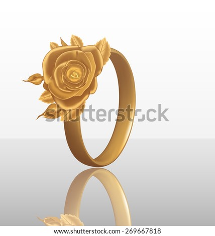 Illustration of jewelry ring with golden rose - raster - stock photo
