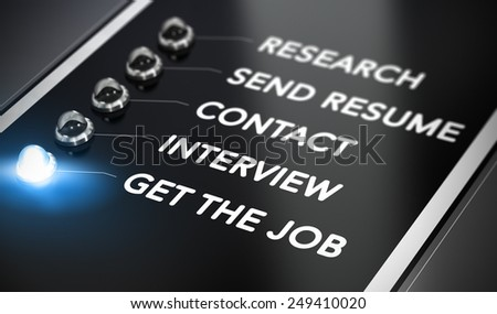 Illustration of job search over black background with blue light and blur effect. Employment concept.