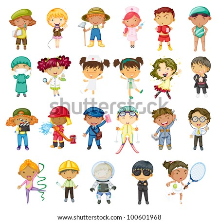 Illustration of jobs of the world - EPS VECTOR format also available in my portfolio. - stock photo