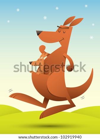Illustration of kangaroo jumping on the grass - stock photo
