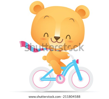 Illustration of Kawaii Cute Bear ride a bicycle - stock photo