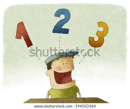 Illustration of kid counting three numbers - stock photo