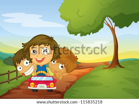 illustration of kids and a car in a beautiful nature - stock photo