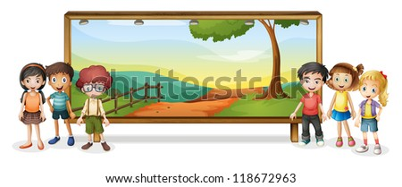 illustration of kids and board on white background