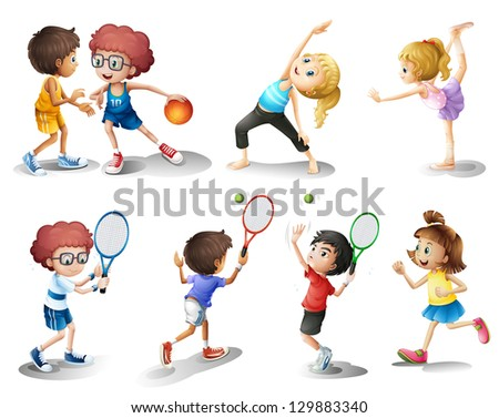 Illustration of kids exercising and playing different sports on a white background - stock photo