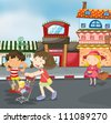 illustration of kids on road for outing - stock vector