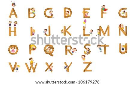 Illustration of kids playing on alphabet - stock photo
